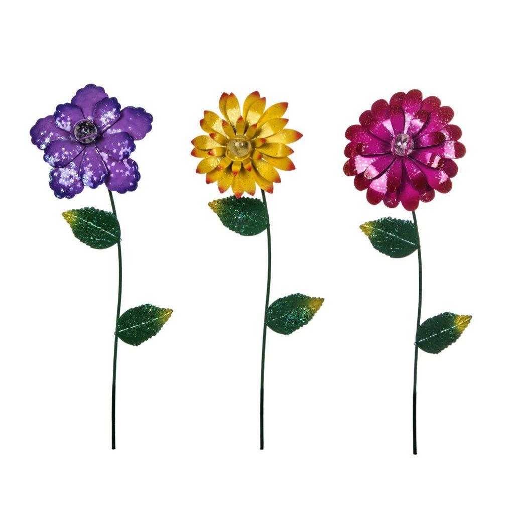 Outdoor Metal Flower Garden Stakes